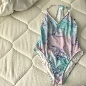 Granite patterned one piece swimsuit